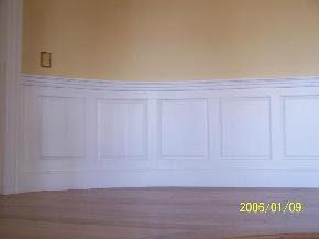 Custom raised-panel wainscotting